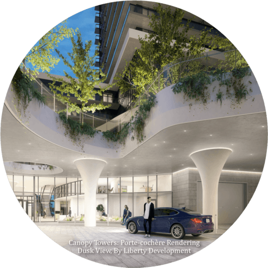 Canopy_Towers_Porte_Cochere_Rendering_Dusk_View_Mississauga_Condos_by_Liberty_Development